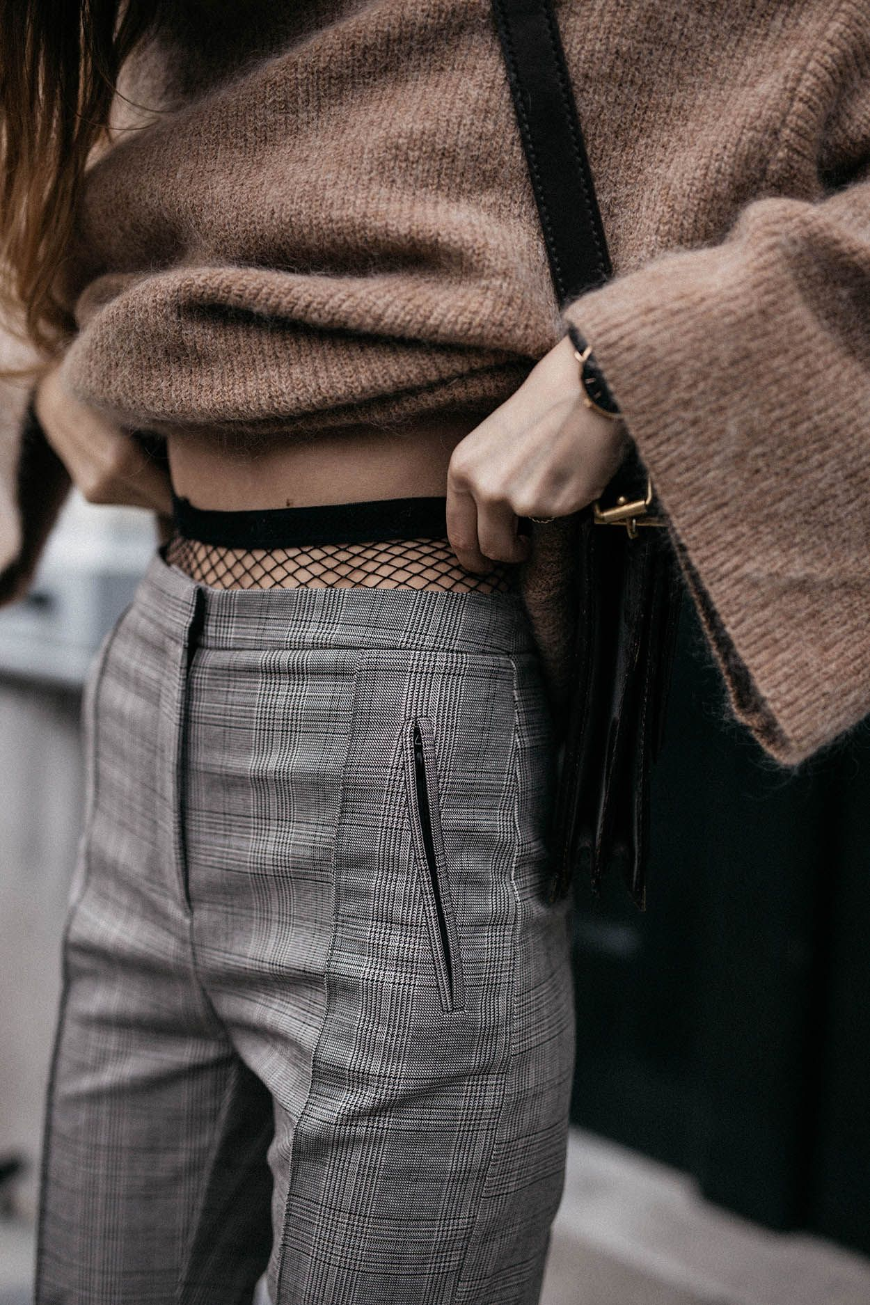 Camel Mohair Sweater With Stirrup Trousers and Fishnet Tights Trend