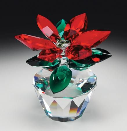 Poinsettia crystal figurine from www.CrystalWorld.com