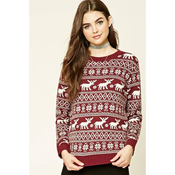 Forever21 Moose Fair Isle Sweater (840 INR) ❤ liked on Polyvore ...