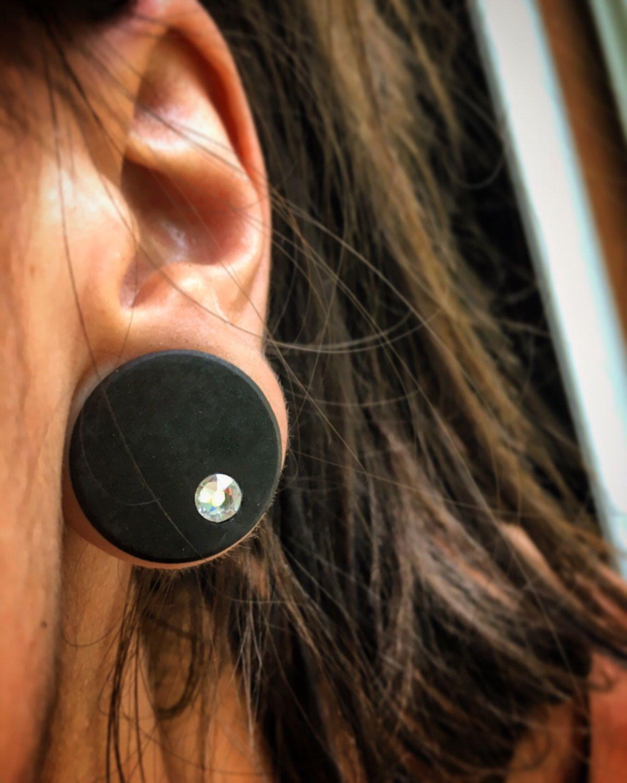 Organic Ebony Plug Gauges With Offset Swarovski Crystal Inlays Wood Plug Gauges For Stretched Ears Sizes Available 00g Gauges Plugs Wood Plugs Pearl Plugs