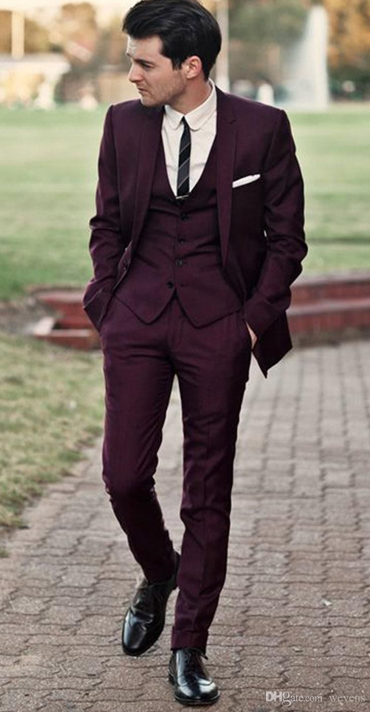 Handsome burgundy wedding tuxedos slim fit suits for men cheap a new meaning to the word tuxedo burgundy is on the rise junglespirit