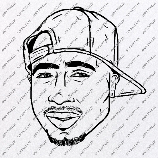 Tupac Shakur 2pac Svg File Tupac Shakur Svg Design Clipart Singer Hip Hop Svg File Actor Png Vector Graphics Svg For Cricut For Silhouette Svg Tupac Artwork Tupac Silhouette Svg
