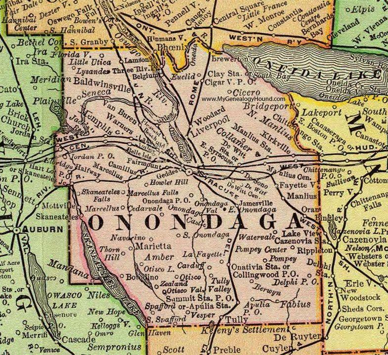 Onondaga County New York 1897 Map Rand McNally Syracuse
