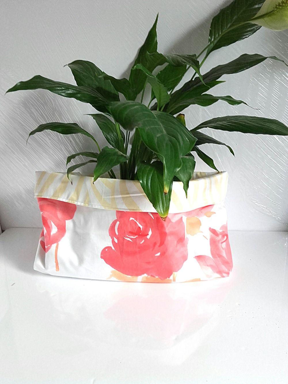 Norme Dtu Placo Salle De Bain ~ Corbeille De Rangement R Versible En Tissu Fleuri Grosses Roses