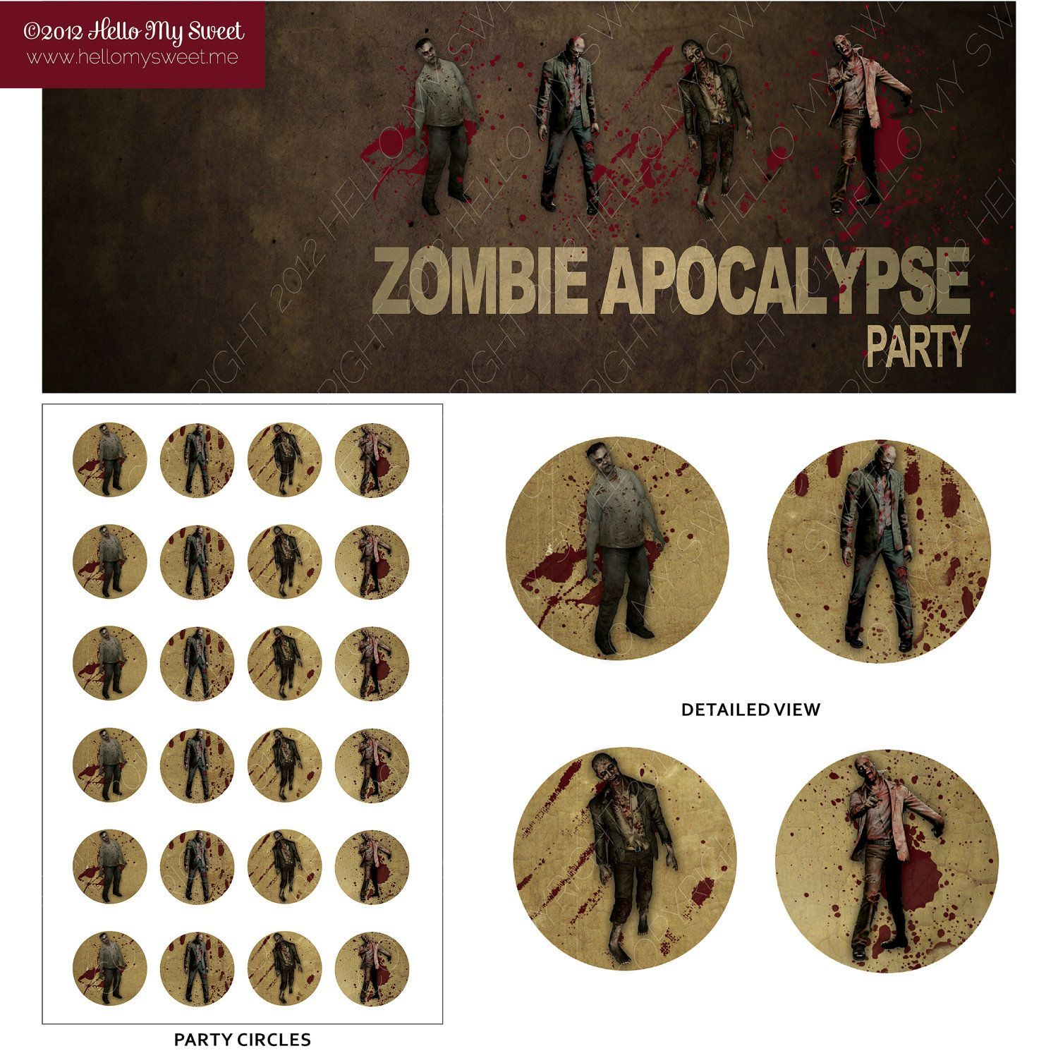 Zombie Party Printable Cupcake Toppers #zombieapocalypseparty The Walking Dead - Zombie Apocalypse Party Circles & Cupcake Toppers. 5.00, via Etsy. #zombieapocalypseparty