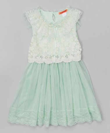 50227aefebdf Another great find on  zulily! Green Pearl Lace Dress - Toddler ...
