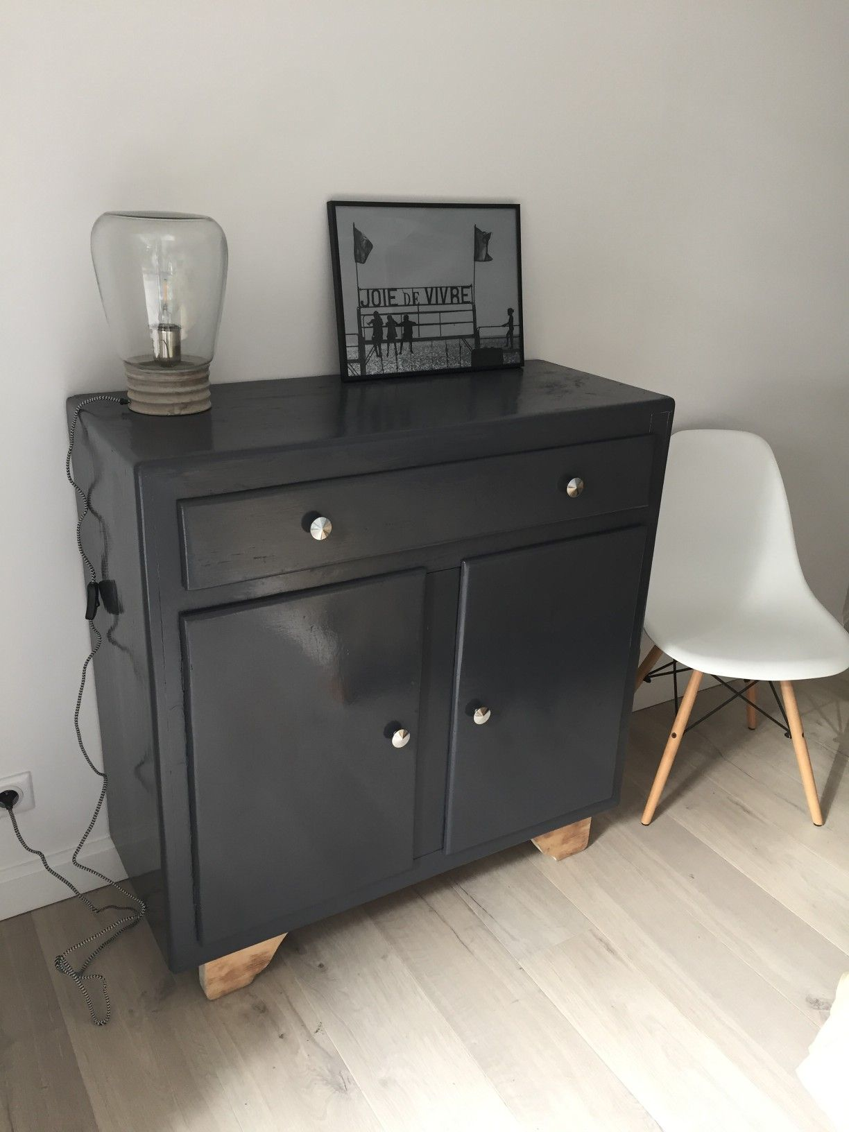 Commode Gris Anthracite Commode Style Mado Relookée Repeinte En Gris Anthracite Formes