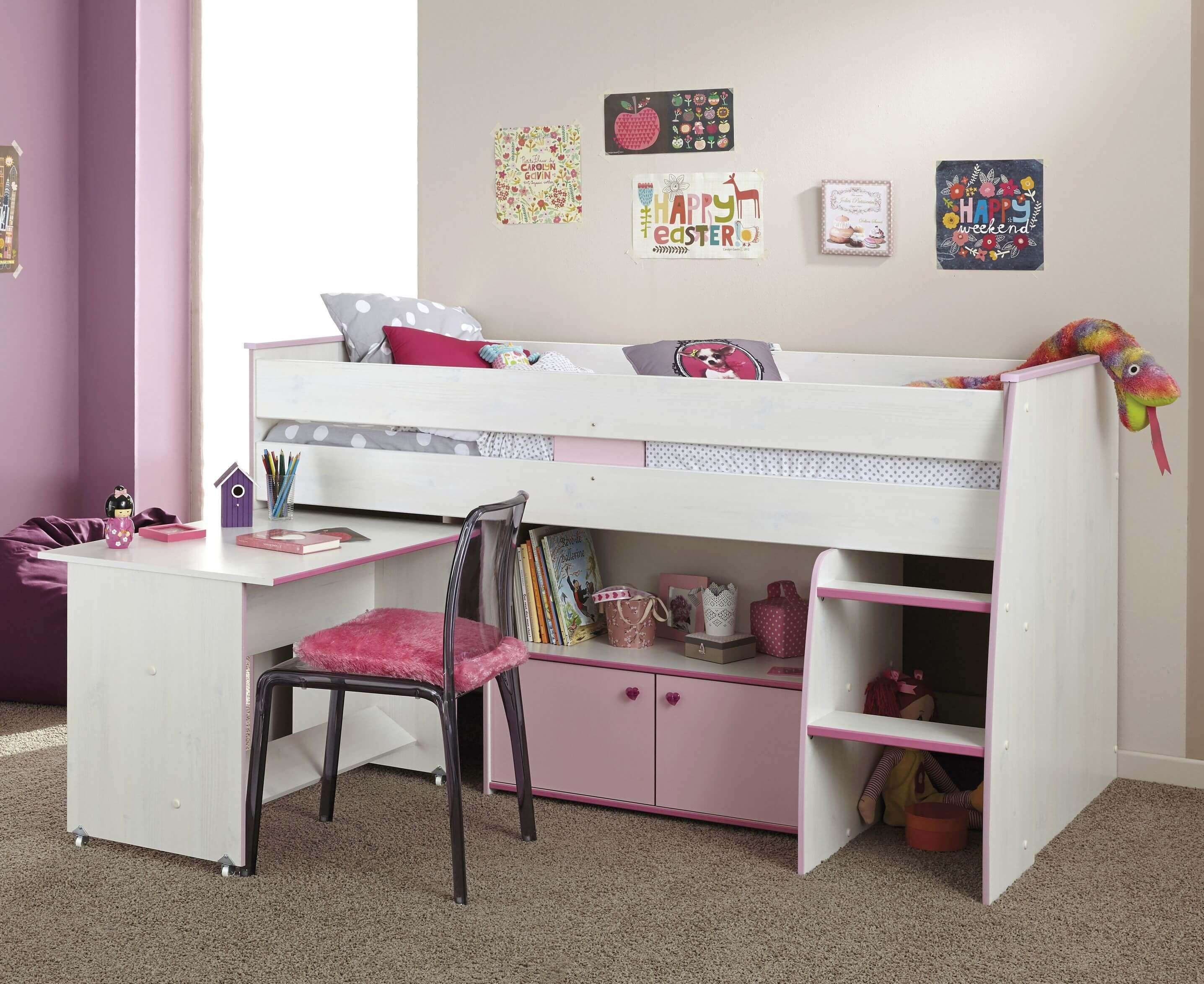 Kinderzimmer Zoe Hochbett 90x200 Kiefer weiß - Pink Jetzt ...