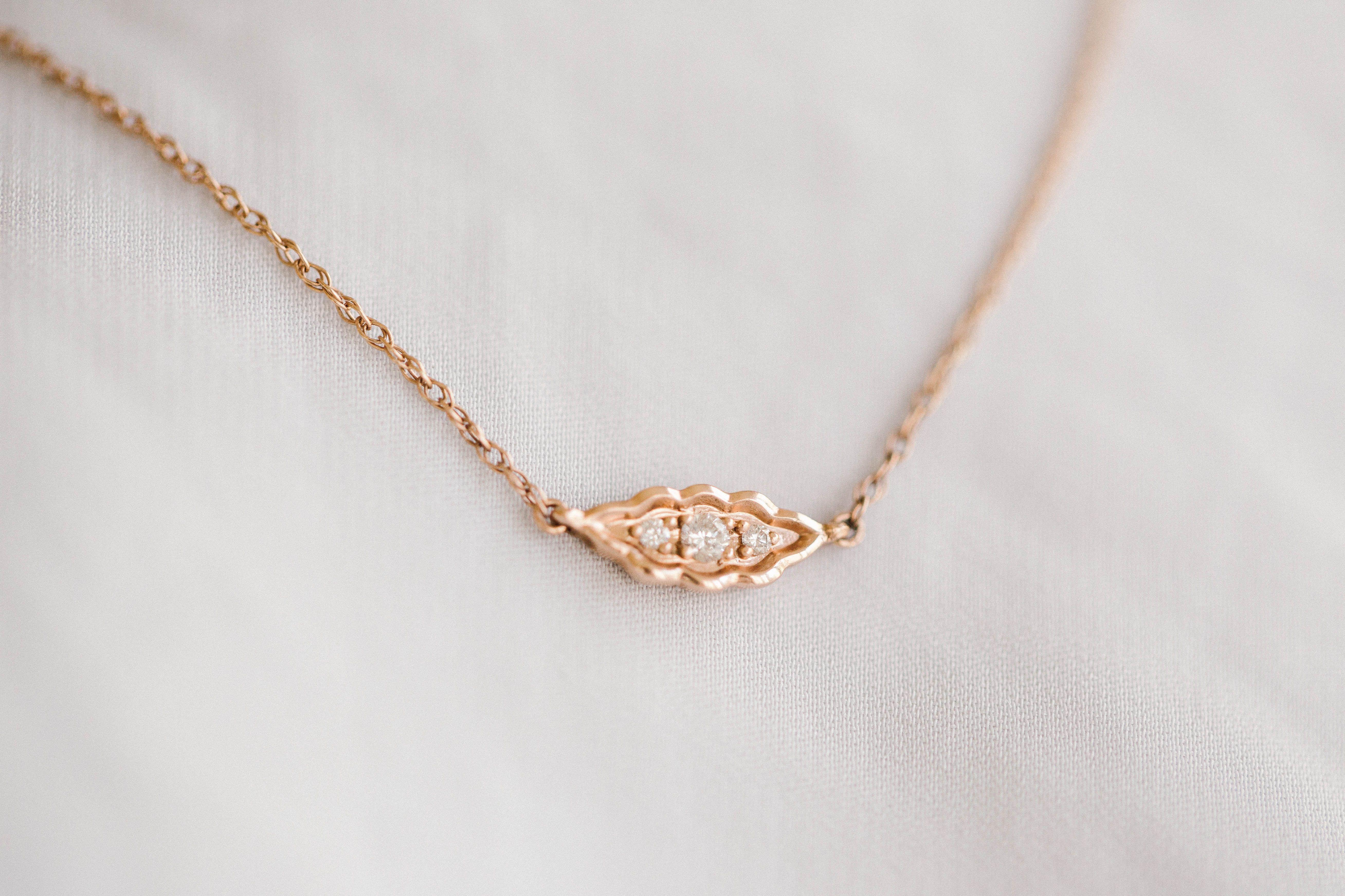 Lc Lauren Conrad 10k Rose Gold Diamond Accent Leaf Necklace Leaf Necklace Rose Gold Diamonds Necklace