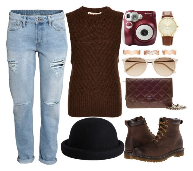 """""""Untitled #211"""" by joslynaurora ❤ liked on Polyvore featuring Marni, H&M, Dr. Martens, Chanel, Witchery, Pieces, Eddie Borgo, Polaroid and Forever 21"""