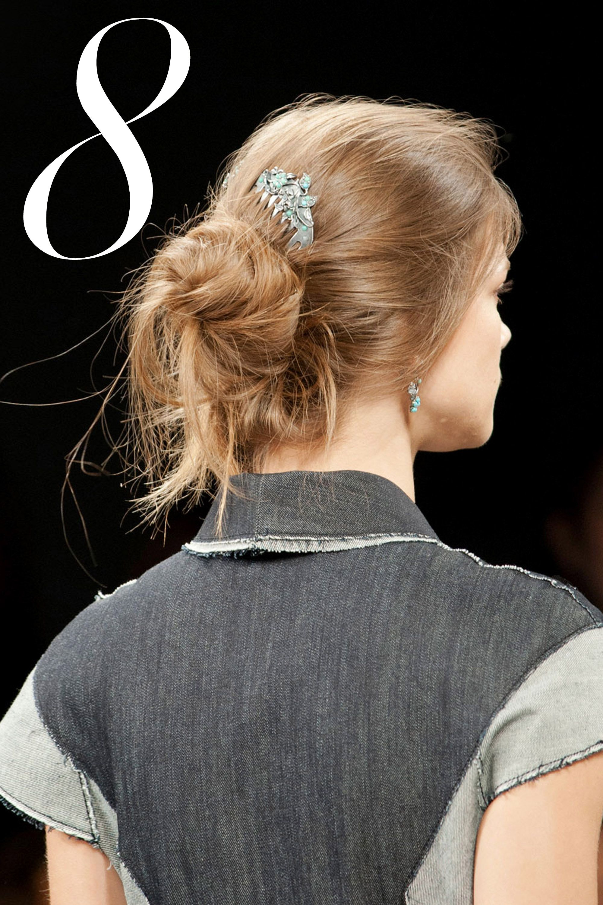 "A vintage turquoise comb dresses up a low-key bun and fulfills the ""something blue"" requirement.   - HarpersBAZAAR.com"