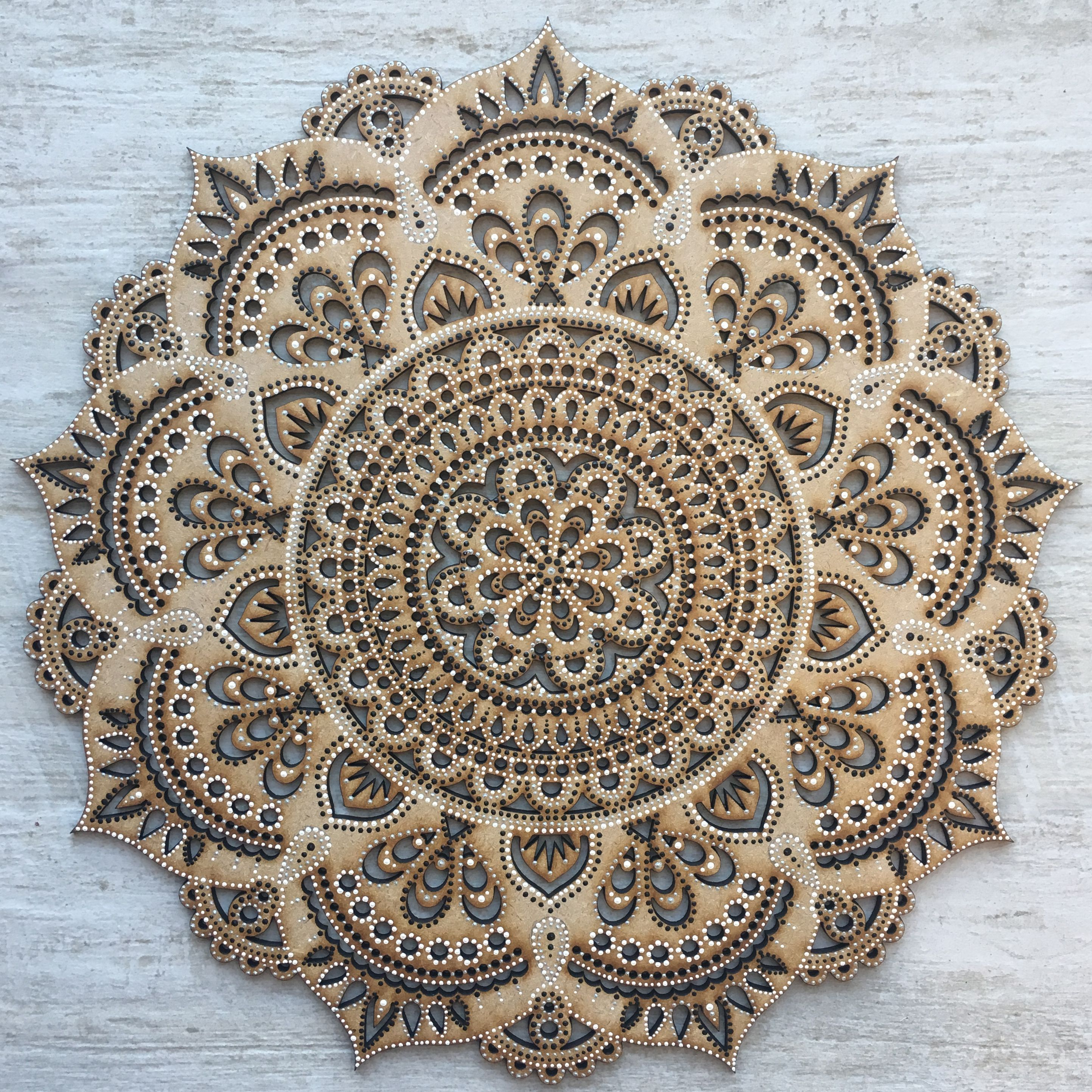 Hand Painted Laser Cut Wooden Mandala Wall Hanging By Wild Minds