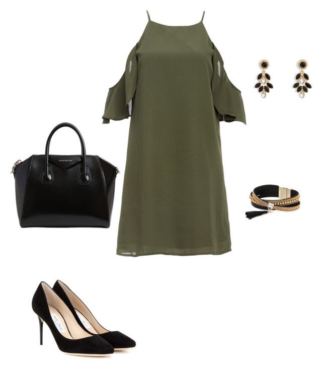 """Chic"" by aleyna-fashion on Polyvore featuring Mode, DailyLook, Jimmy Choo, Givenchy, Simons, Vera Bradley, outfit, black, dress und khaki"