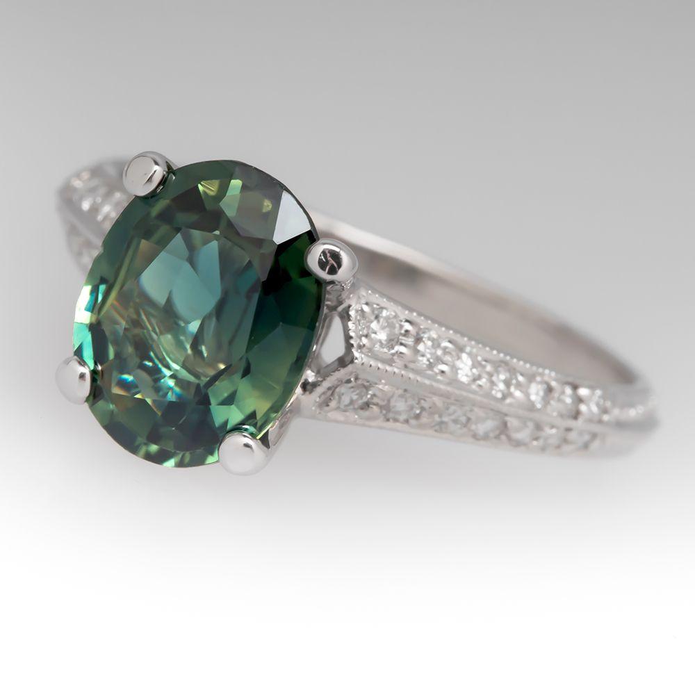 Vintage 2 1 Carat Oval Green Sapphire Diamond Ring 18k Engagement Rings Sapphire Sapphire Engagement Ring Blue 18k White Gold Engagement Rings