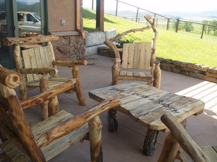 Aspen Adirondack Patio Set · Log FurnitureOutdoor ...