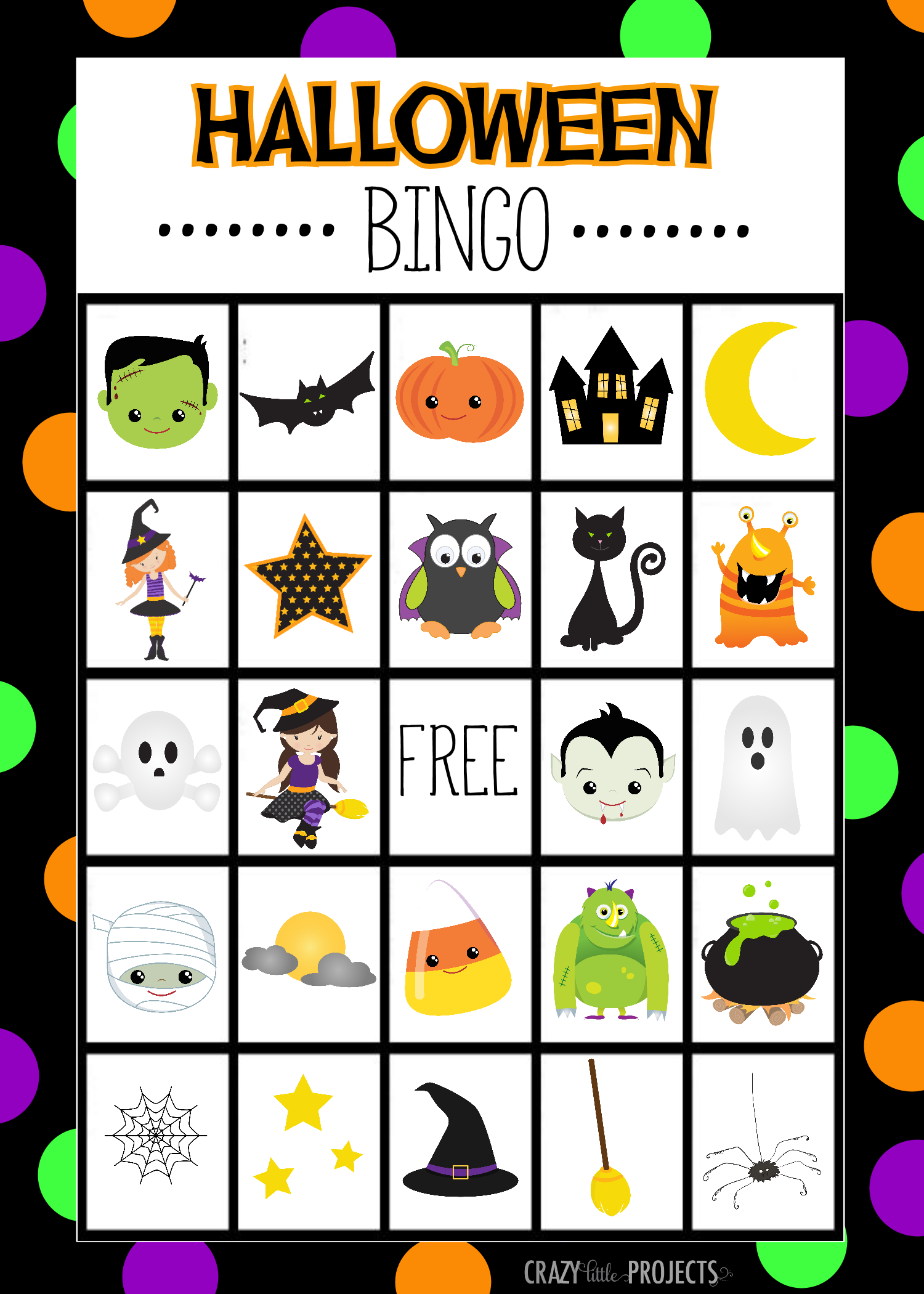 free printable halloween bingo cards by crazy little projects - Preschool Halloween Bingo