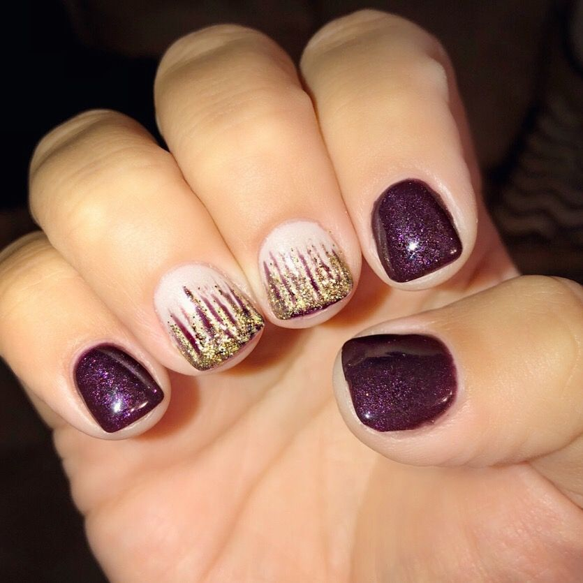Fall Colors Wine Burgundy Nails Glitter Ombre Gold Nailart Gelnails Glitterombre Burgundy Nails Toe Nails Nails