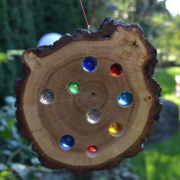 Gartendekoration - Glasstein Holz Sonnenfänger 15 cm - ein ...