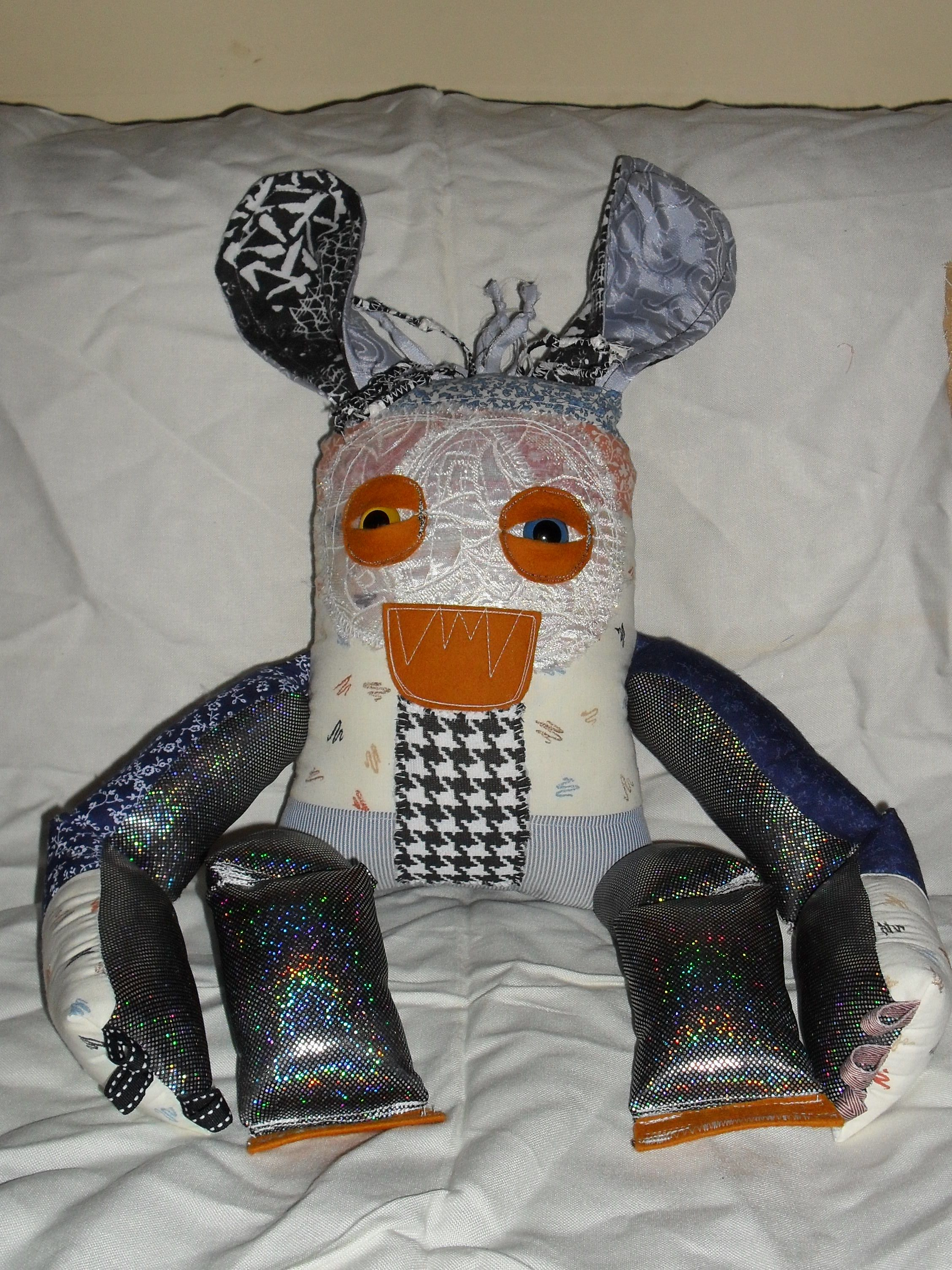 Daniel the Monster Bunny. D.O.B.: 8/2/2014. Made by me, named by my son, stuffed by both of us.