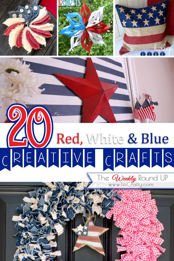 15 Red, White & Blue Patriotic Crafts {Weekly Round Up}