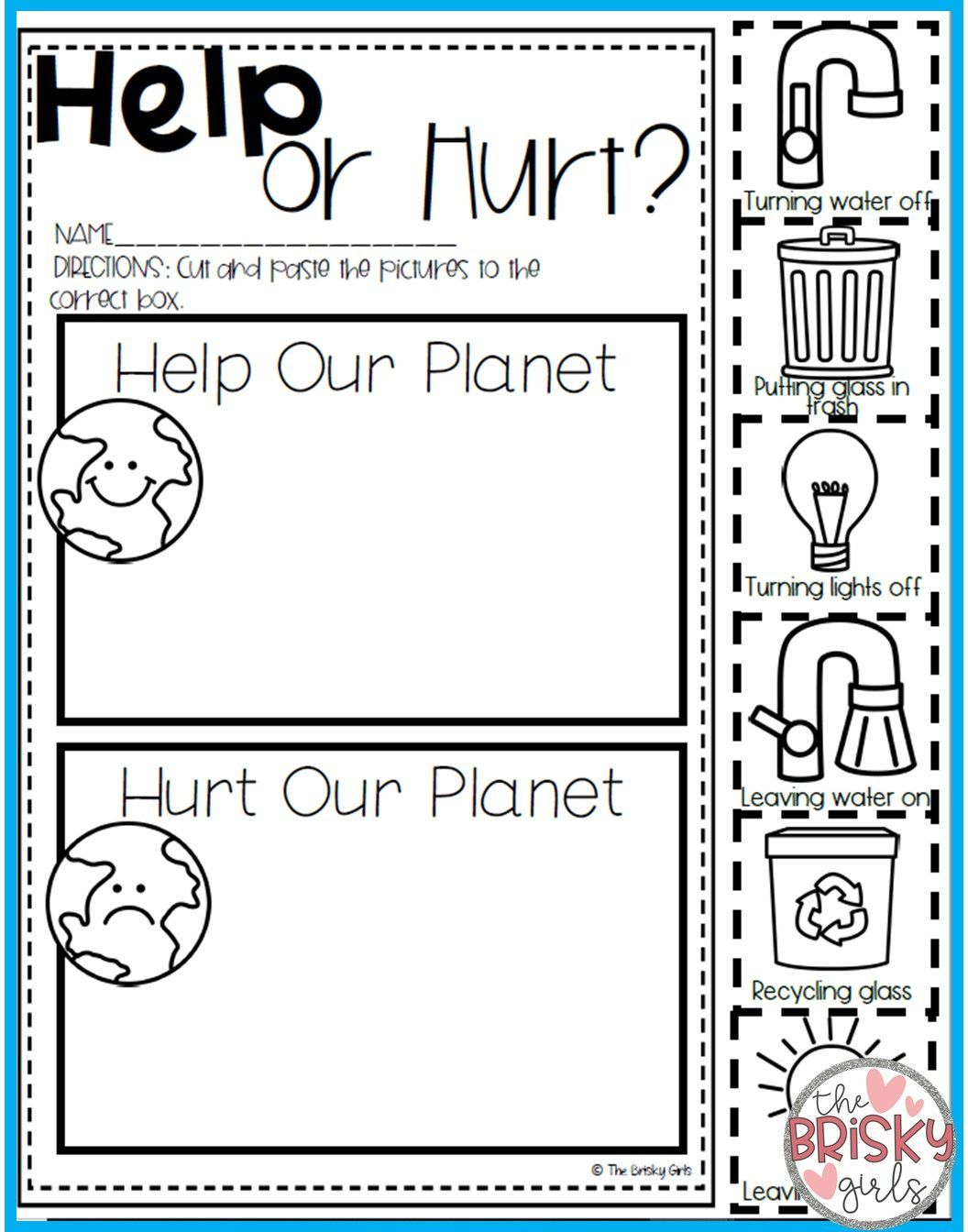 Help Or Hurt Earth Day Activities Earth Day Worksheets Earth Activities Earth Day Activities [ 1344 x 1056 Pixel ]