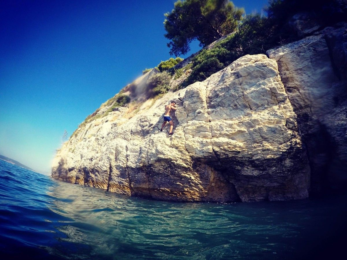 Deep Water Solo U0026 Cliff Jumping In Split. One Of The Oldest DWS Climbing  Area. Reveal The Adrenaline Rush While Climbing The Rocks Above Crystal  Clear Sea.