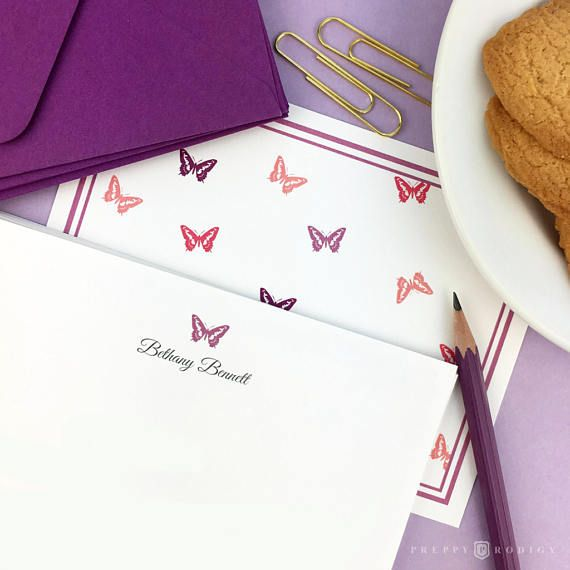 Personalize / Custom / Stationery/ Thank You / Purple /