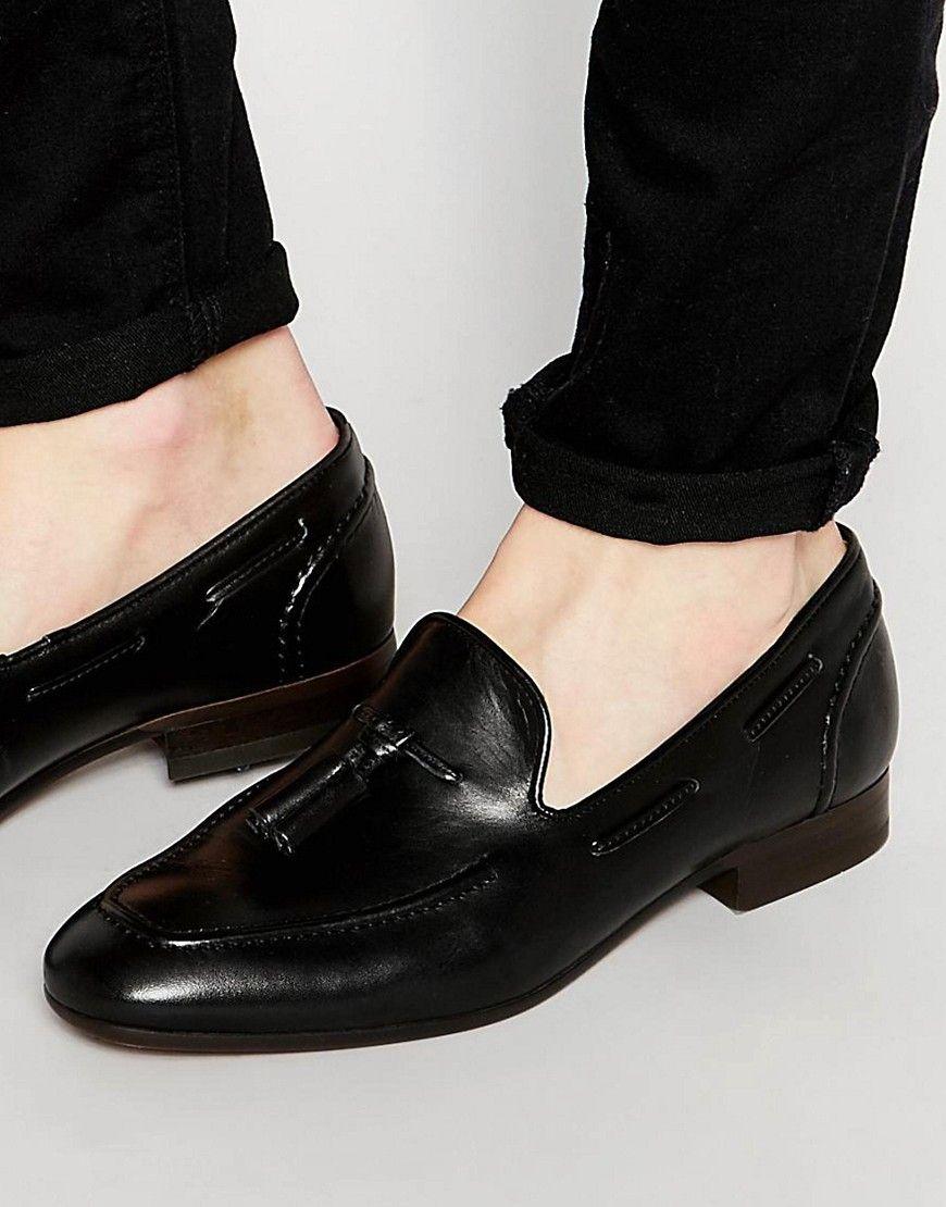 HUDSON LONDON PIERRE LEATHER LOAFERS  BLACK  #hudsonlondon #shoes #
