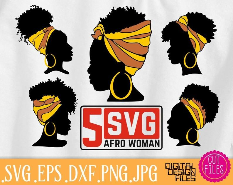 5x Afro Black Woman Head Band Bundle Svg Hairstyle Woman