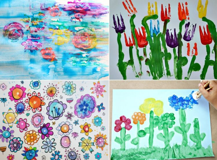 Frühlingsbilder malen mit Kindern mit Acryl und