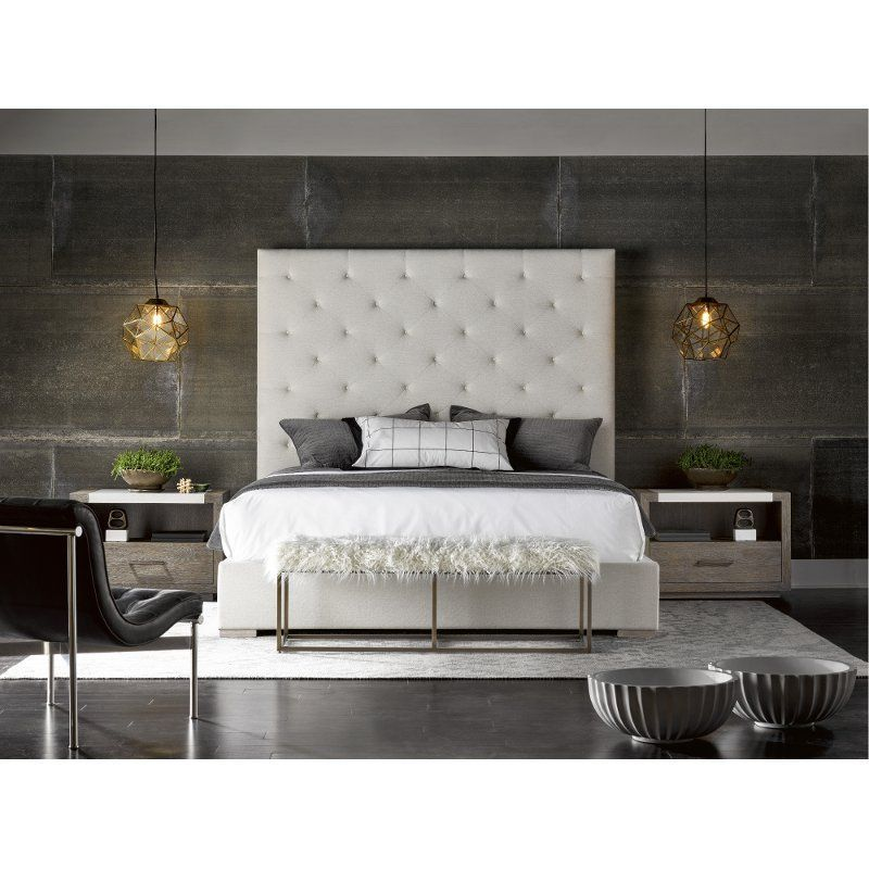 Contemporary Off White Upholstered King Bed Modern Upholstered