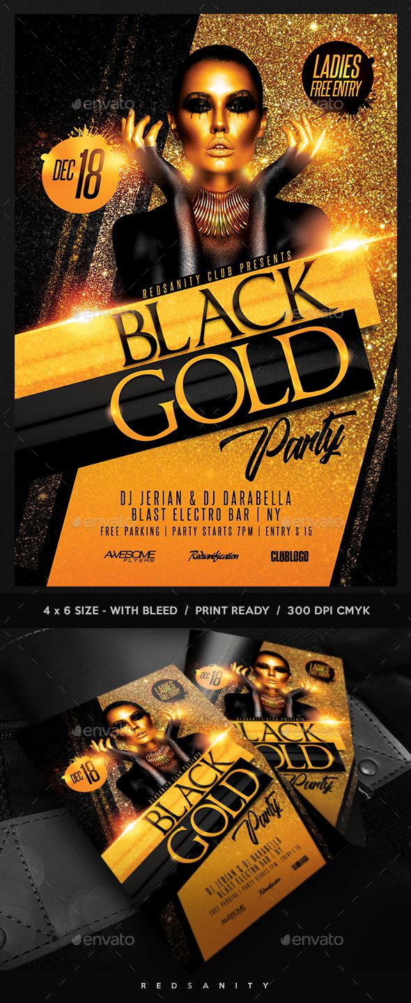 Black Gold Party Flyer FeaturesVery easy to edit Photoshop template