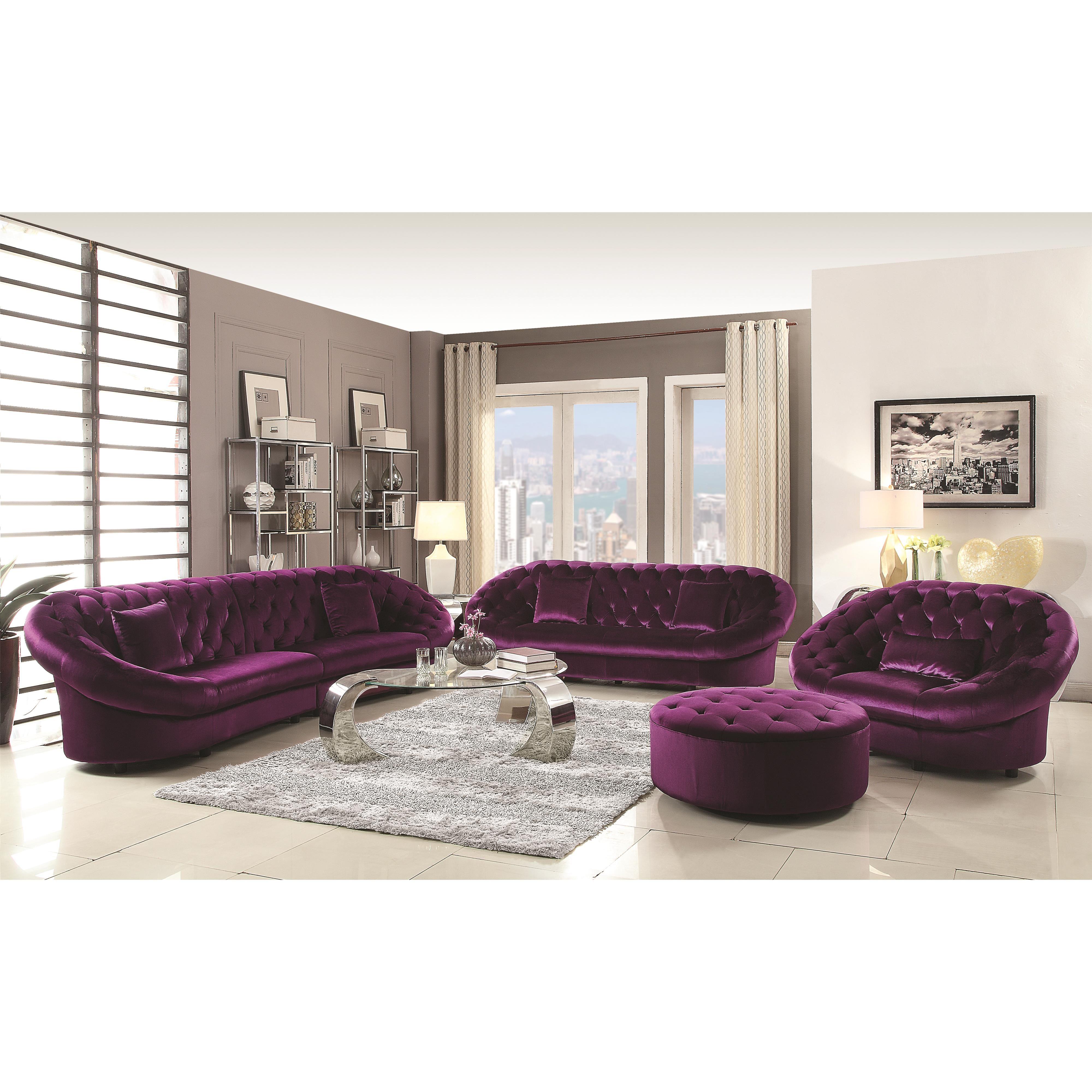 Romanus Mid Century Purple Velvet Modern Sectional Sofa