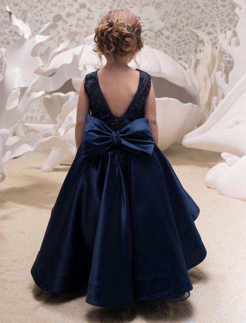 Free Shipping Navy Blue Satin Tulle Lace Tulle Flower Girl Dress Party Dress -   19 dress Flower Girl blue ideas