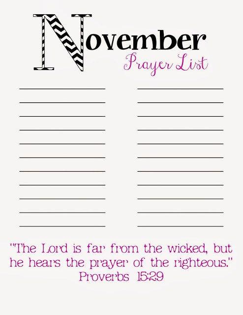 photograph about Prayer List Printable called Prayer Checklist Printable November A further totally free printable for