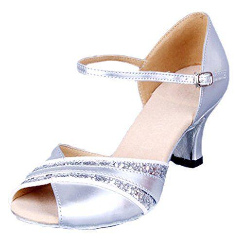 Honeystore Damen's Peep Toe mittelhohem Absatz Latein Tanzschuhe Silber 36 EU EaW4Kj