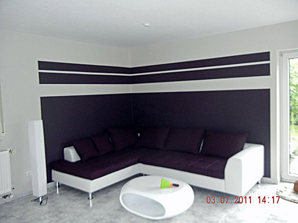 Lieblich Einfach Wohnzimmer Ideen Wandgestaltung Streifen In Ideen