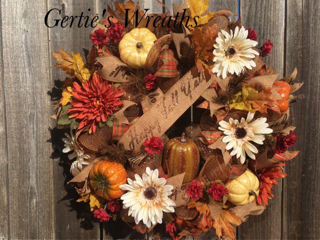 Happy Fall Fall Wreath Pumpkin Door Hanger