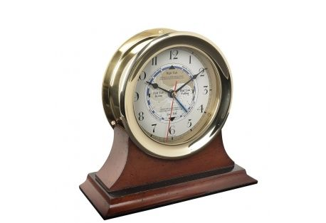 Captain's Time and Tide Clock in Brass with Mahogany Wood Base
