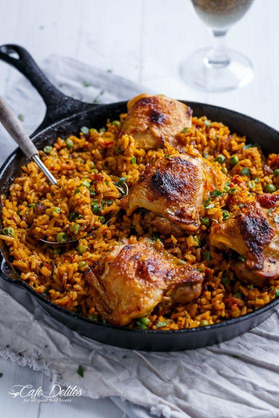 One Pan Crispy Spanish Chicken and Rice (Arroz Con Pollo) | http://cafedelites.com