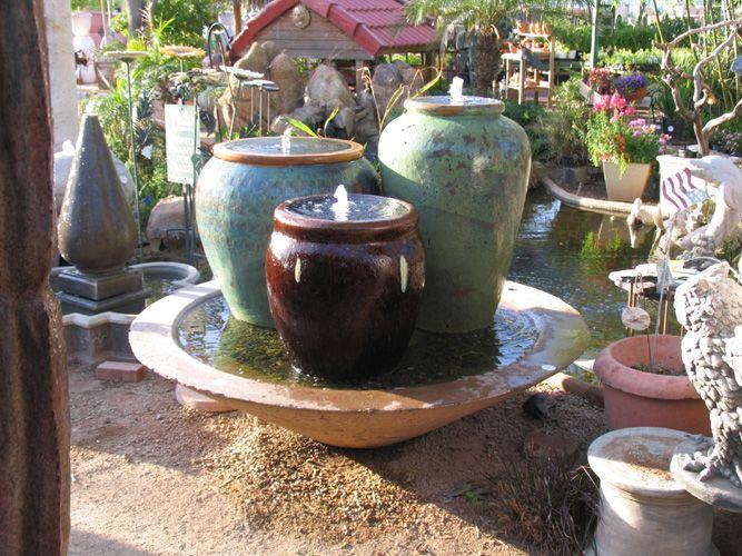 Triple Ceramic Pot Fountain   The Green Goddess