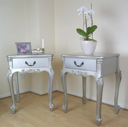 French Rococo Antique Silver Boudoir Single Drawer Bedside / Side ...