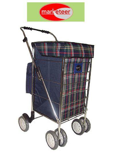 bdc1192b9b Marketeer Deluxe Swivel 6 Wheel Shopping Trolley Green Check ...
