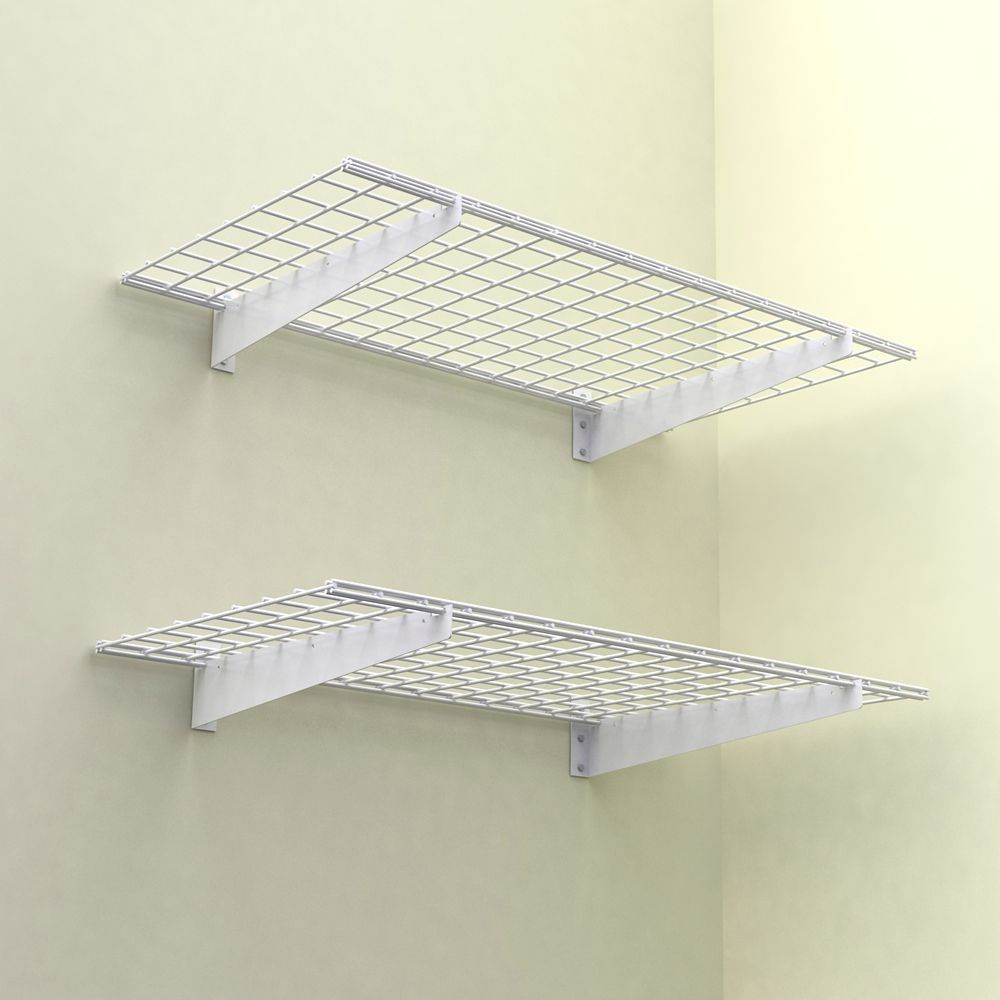 48x24 Inch Wall Shelf 2 Pack White Finish 150 Lb Weight Capacity Garage Wall Storage Wall Shelves Wall Storage Systems
