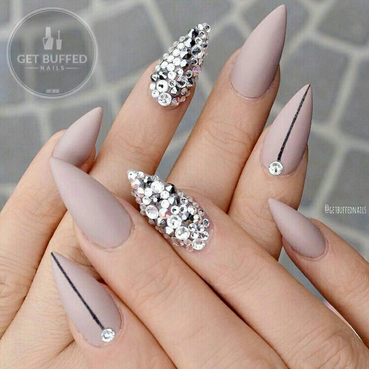 Matte Mauve Stiletto Nails Art with Rhinestones @neztheartist ...
