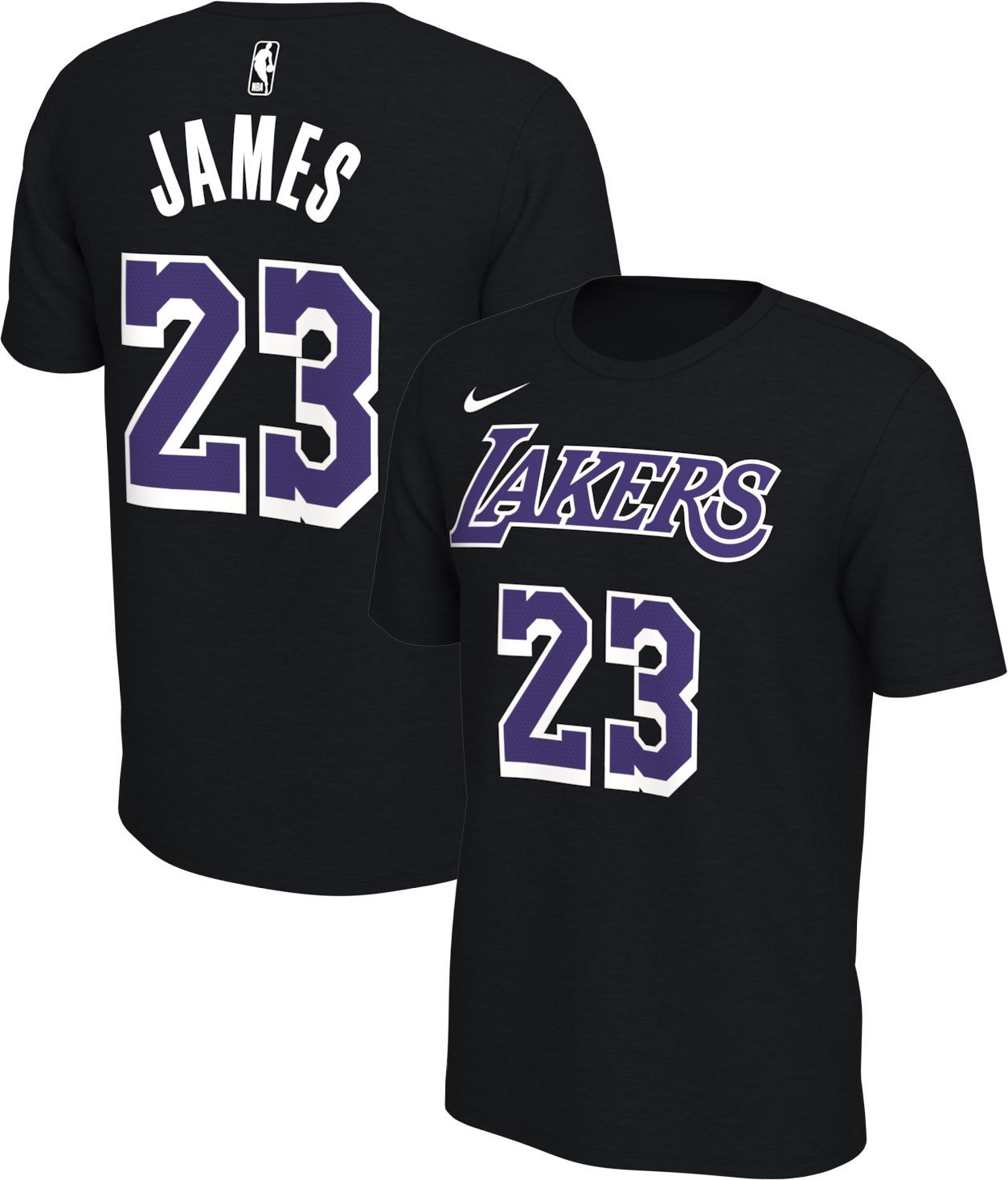 half off 04dbe ebf43 Nike Mens Los Angeles Lakers LeBron James 23 Dri-FIT Black T-Shirt