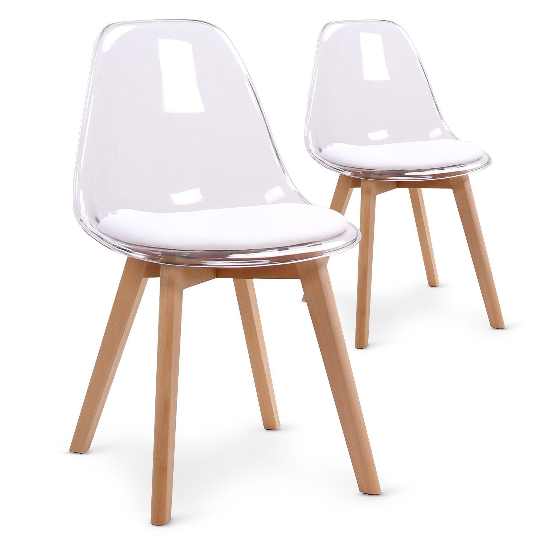 Lot De 2 Chaises Scandinaves Bovary Plexi Blanc En 2020 Chaise Scandinave Chaise Plastique Chaise Transparente