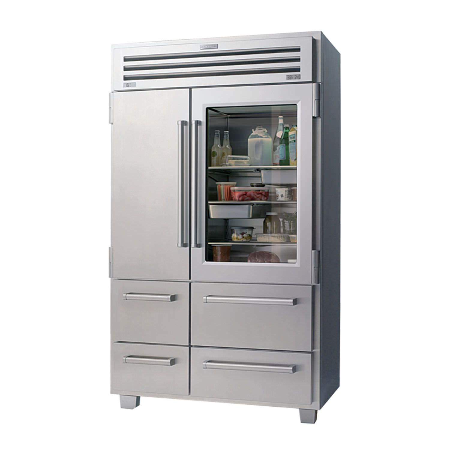 Home refrigerator-freezer / American / glass / stainless ...