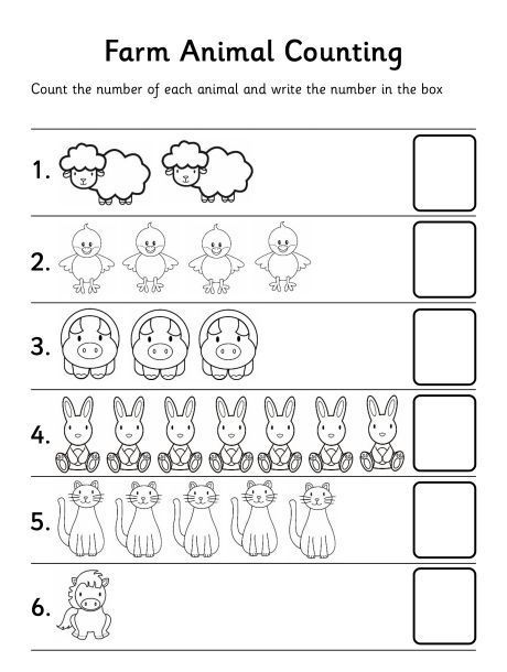 farm animal counting worksheet | Tareas Escolares | Pinterest | Pre ...