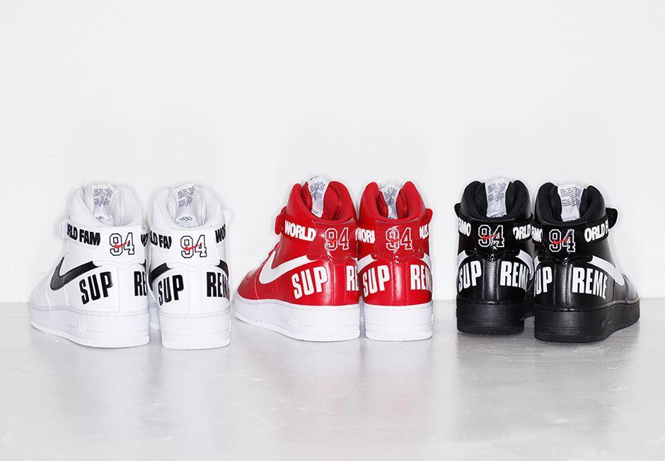 Supreme X Nike Air Force 1 High Release Date Sneakernews Com Best Sneakers Nike Air Force Air Force 1 High
